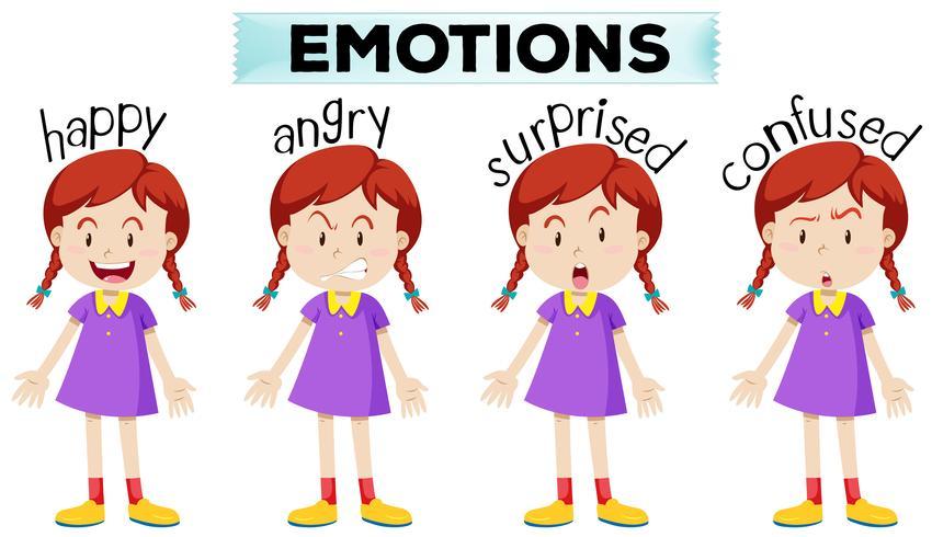 Menina, com, quatro, diferente, emoções