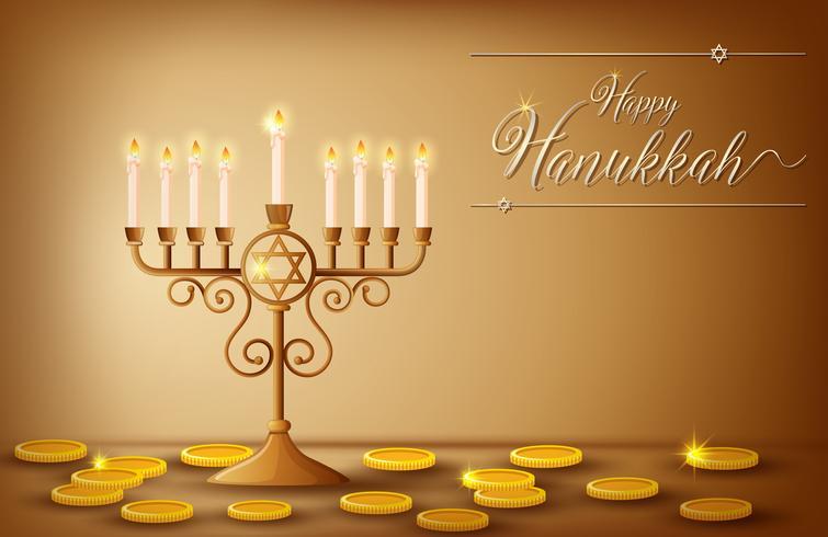 Modello di carta felice Hanukkah con monete e luci