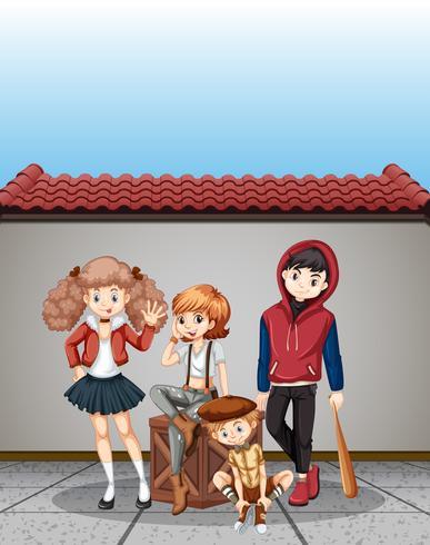 Grupo de cena de adolescentes