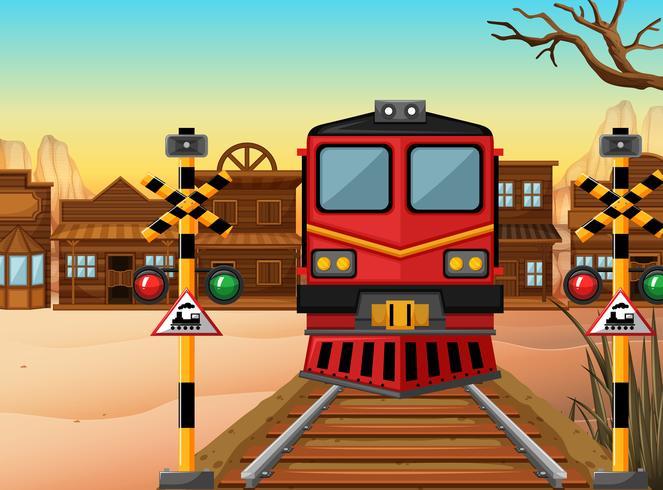 Trainiere auf der Strecke in die westliche Stadt