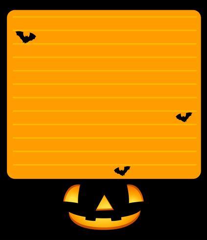 Plantilla de papel con jack-o-lantern y murciélagos.