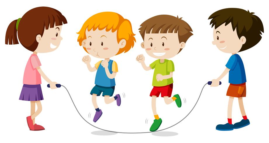 Happy children playing jumprope