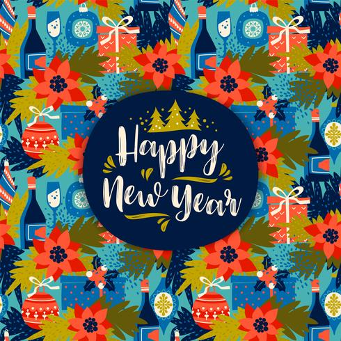Happy New Year. Vector design element with New Year's symbols.