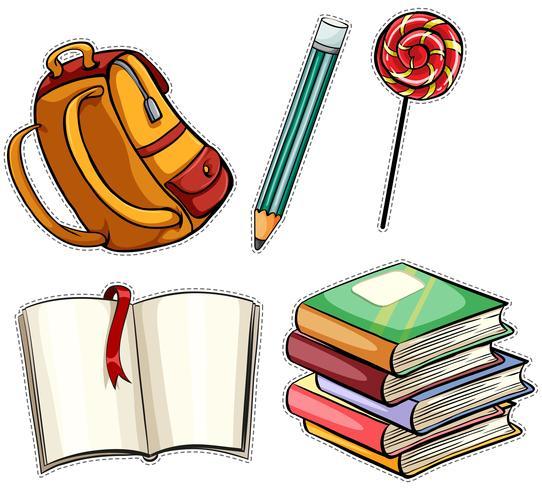Klistermärke satt med utbildningsobjekt