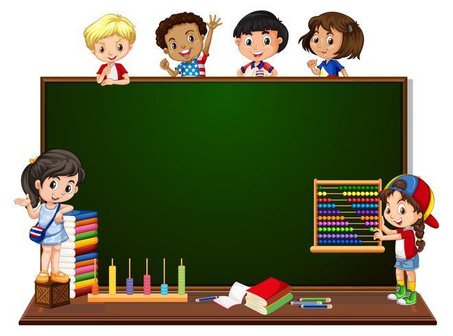 Children with blackboard banner vector