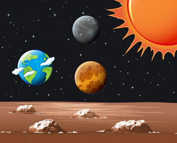 Planetas diferentes no sistema solar
