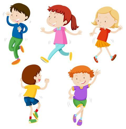 Un conjunto de niños bailando