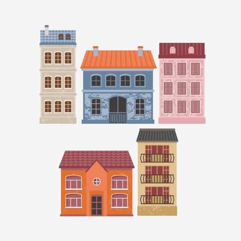 Ilustración del vector del edificio. Casas de color