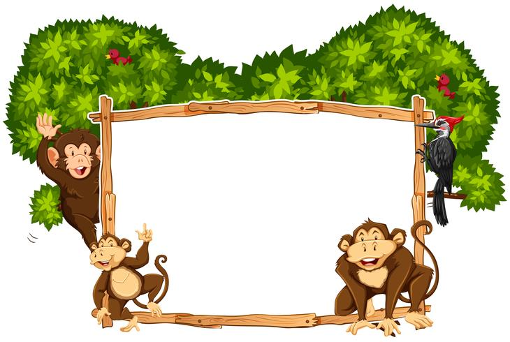 Border template with monkeys and toucan