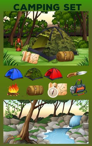 Campingausrüstung und Feld