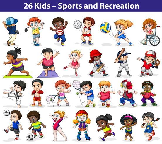 Niños participando en diferentes actividades.