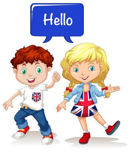 Britischer Junge und Mädchen sagen Hallo