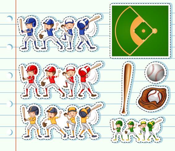 Disegno adesivo per giocatori di baseball e campo