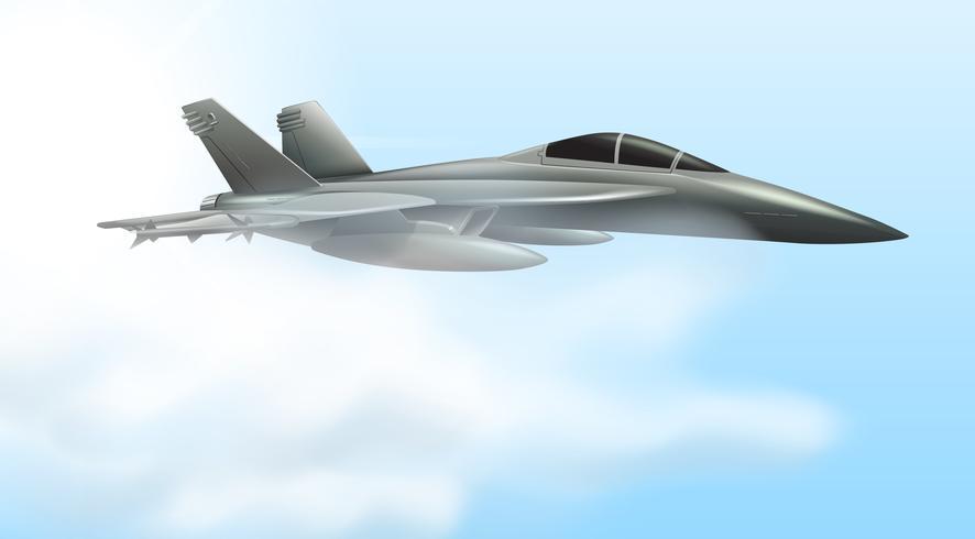 Scena di volo del jet dell'aeronautica