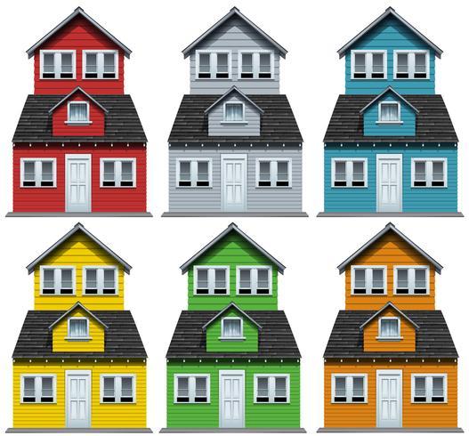 Hus med sex olika färger