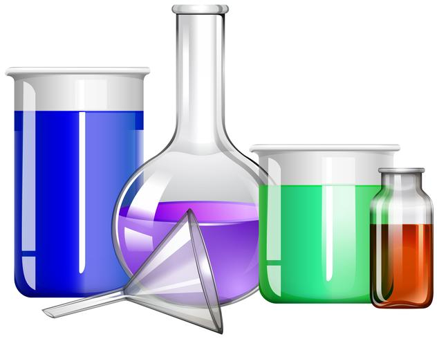 Contenitori di vetro con liquido all'interno