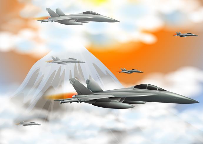 Muitos aviões a jato voando no céu