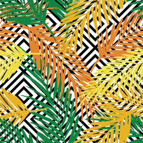 Seamless exotic pattern with palm leaves on geometric background. vector