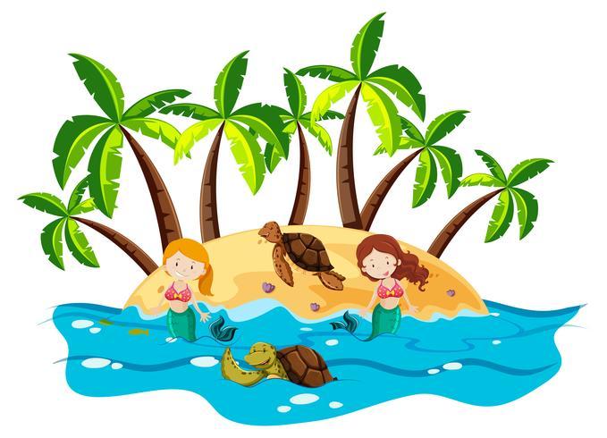 Sereias e tartarugas marinhas no mar