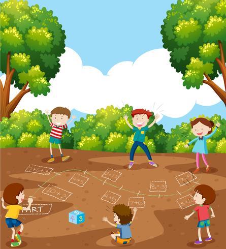 I bambini che giocano il gioco di matematica