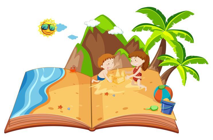 I bambini che giocano su un'isola popolano il libro