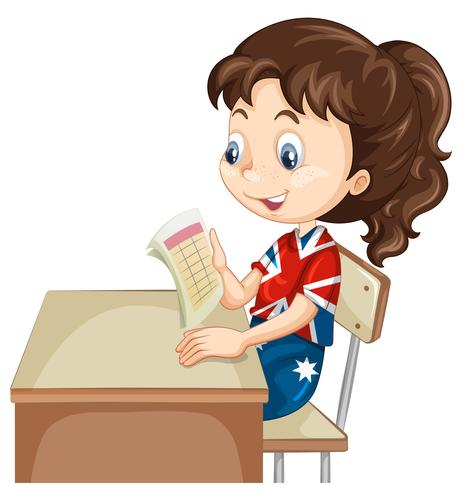 Menina lendo o documento na mesa vetor