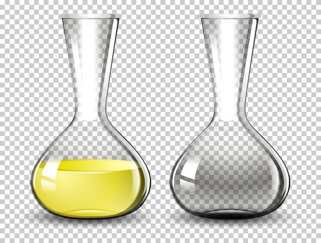 Matraz volumétrico sobre fondo transparente.