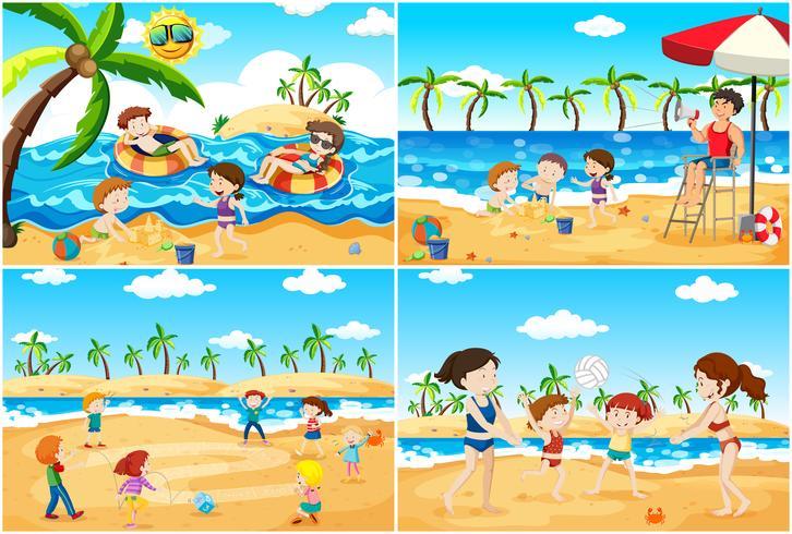 Een reeks kinderen die bij strand spelen vector