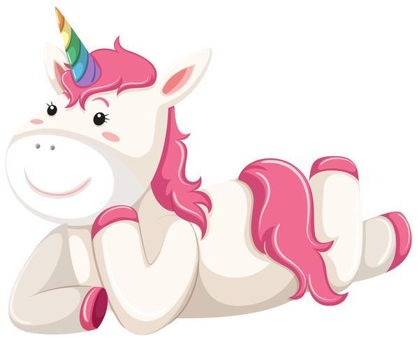 Glad rosa unicorn laying