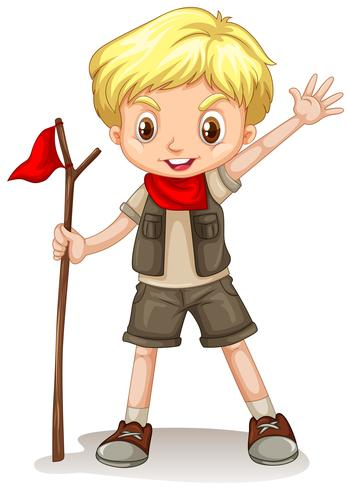 A blonde boy wearing a scout outfit