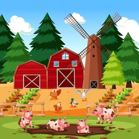 Cena de fazenda com animais e culturas vetor