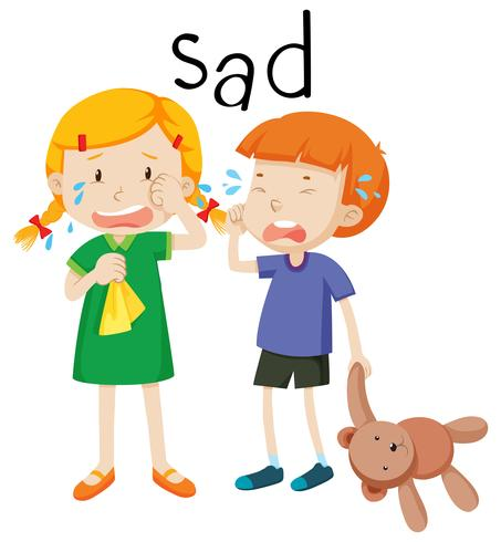 Two child sad emotion - Download Free Vector Art, Stock Graphics & Images