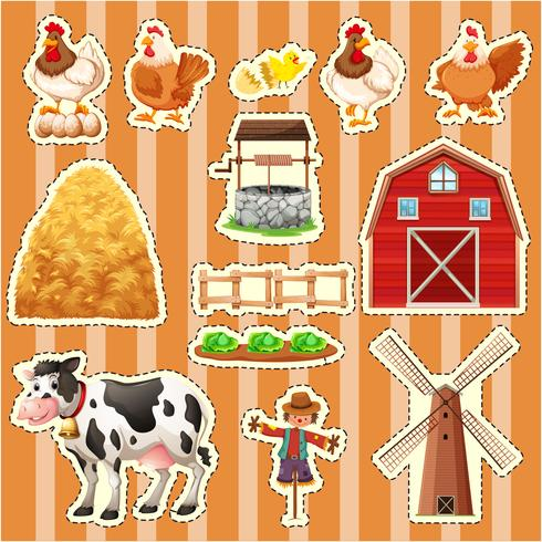 Design da etiqueta para animais de fazenda