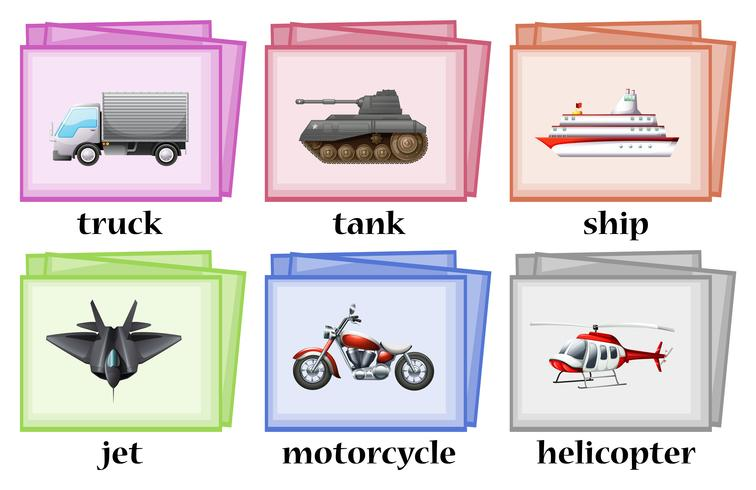 Different transportation on wordcards