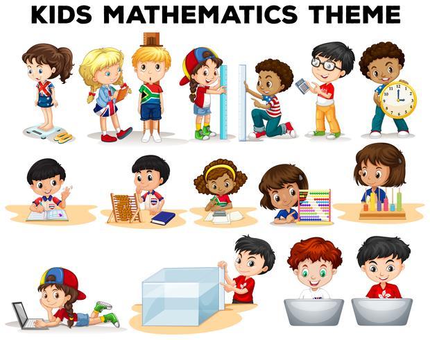 Crianças resolvendo problemas de matemática