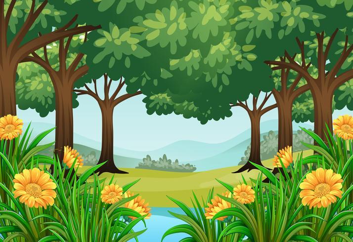 Waldszene mit Blumen und Teich