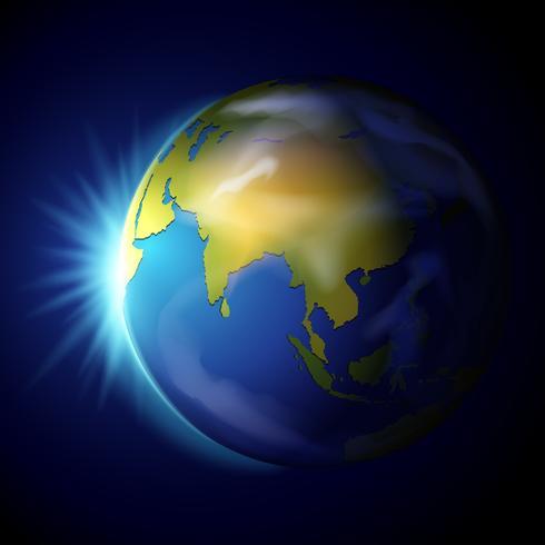 Planet Erde auf blauem Hintergrund