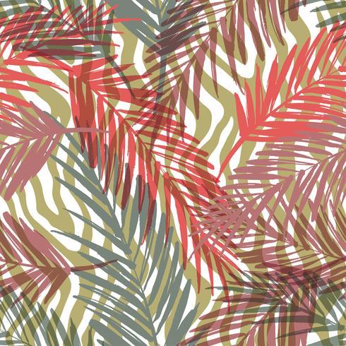 Modello esotico senza cuciture con foglie di palma e motivo animali.