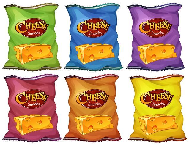 Petiscos de queijo em sacos de seis cores