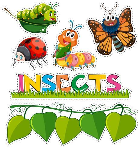 Adesivo definido com diferentes insetos no jardim