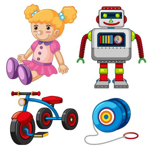 Doll and other toys on white background