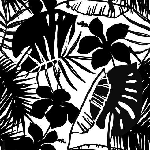 Naadloos exotisch patroon met tropische bladeren en bloemen. vector