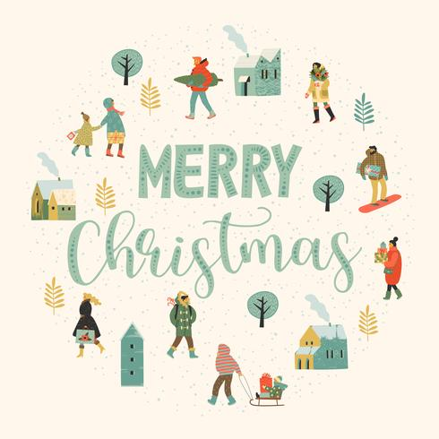 Christmas and Happy New Year illustration whit people. Trendy retro style. vector