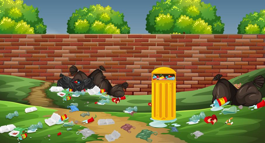 Litter in the park vector