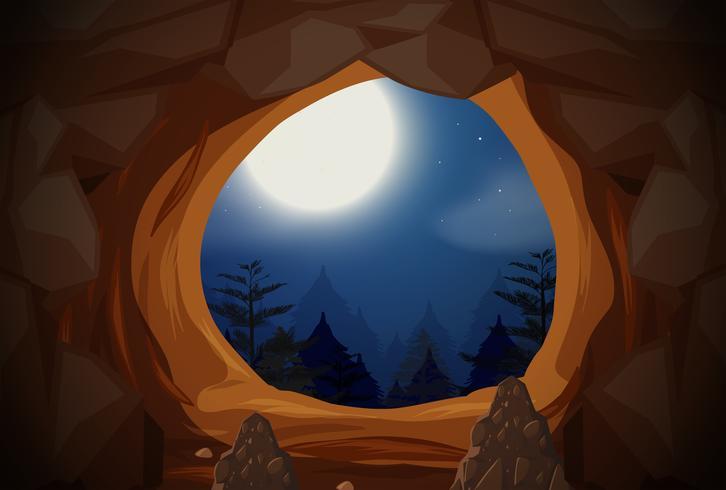Escena nocturna de entrada a la cueva
