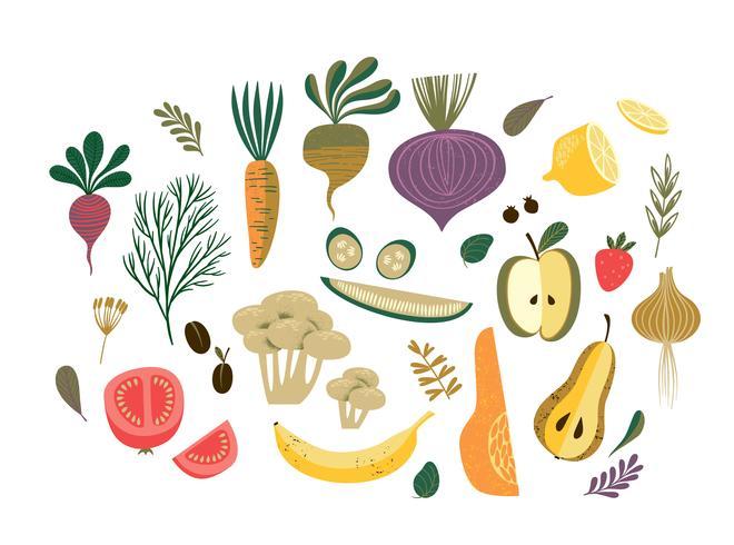 Ilustración de vector de verduras y frutas.