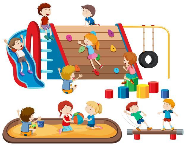 Grupo de personas niños en el patio