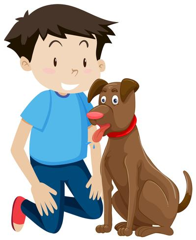 Young boy with pet dog