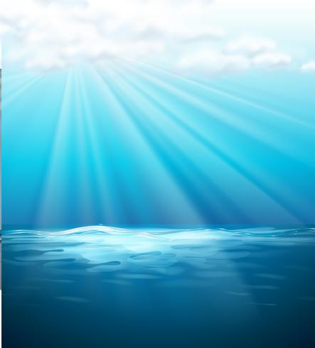 Background template with blue sea vector