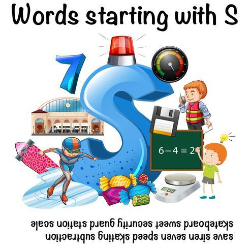 Conception de l'affiche pour les mots commençant par S